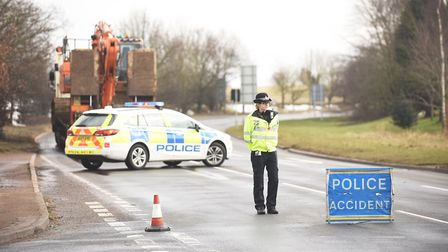 The A1066 was closed at Garboldisham on Monday morning after a serious crash involving four vehicles