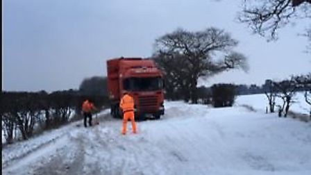 Three lorries got stuck on the A134 at Two Mile Bottom near Thetford due to snow drifts. Picture: @B