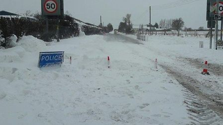 Picture of snow-covered A140 on March 1. PIC: Norfolk Police Twitter