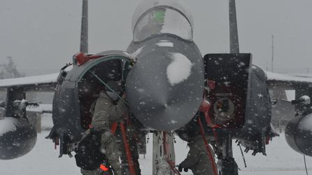 An F-15 at RAF Lakenheath in the snow. Picture: MSgt Eric Burks