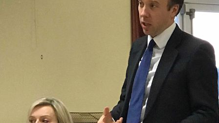 Culture Secretary Matt Hancock and MP for south west Norfolk Liz Truss attend a meeting in Weeting V