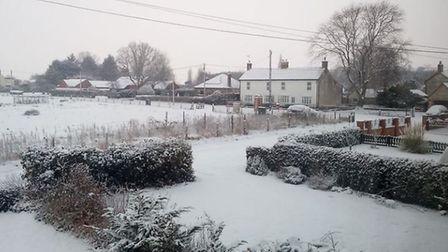 The snowy scene in Northwold. Picture: Jason Simpson