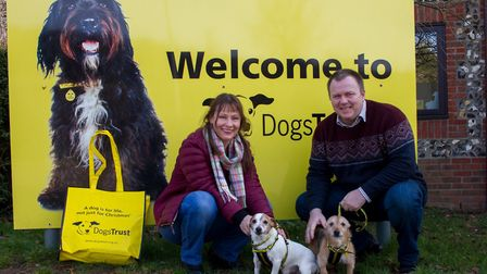 Alena and Dylan Wren with Bam Bam and Pebbles at the Dogs Trust Snetterton rehoming centre. Picture: