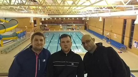 Franko Fraize, middle, is taking on a 22 mile swimming challenge to raise money for Diabetes UK. He