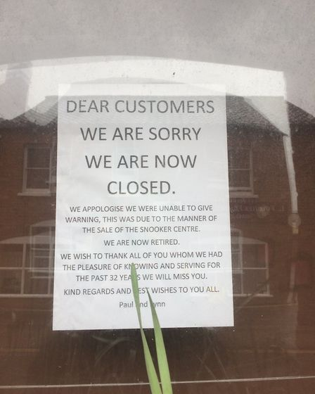 Sign at Thetford Snooker Club from owners Paul and Lynn Mossop. Picture: Rebecca Murphy