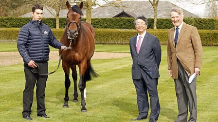 Mukhadram pictured with handler Bela Kristof, Shadwell Stud director Richard Lancaster and the Japan