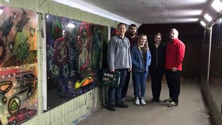 Street art designed by young people in Thetford has been put back up after being targeted by vandals