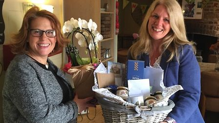ShopAppy launch event hamper winner Karen Gay (right) with Kay Wells of the Market Cross Cafe in Swa