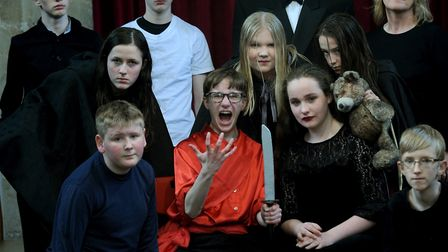 Michael Heslop as Macbeth during the Thetford Grammar School production which he organised, directed