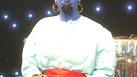 Michael Heslop as the Genie in the production of Aladdin with Stagecoach. Picture: Stagecoach