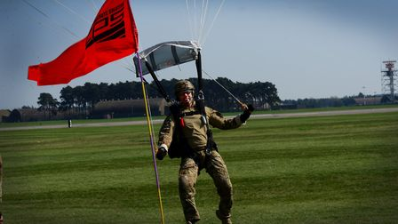 A pararescuemen assigned to the 57th Rescue Squadron completes his final jump over RAF Lakenheath. P