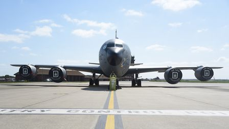 The USAF's refuelling tanker, the KC-135 Stratotanker at the European Tanker Symposium event at RAF