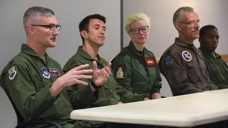 The members of the panel at the European Tanker Symposium event at RAF Mildenhall, from left, US Air