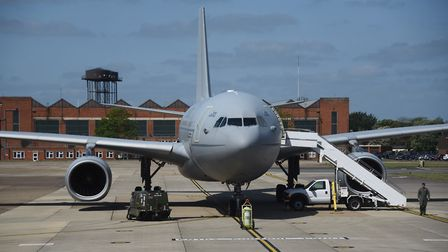 The RAF's air-to-air refuelling tanker, the Voyager, at the European Tanker Symposium event at RAF M