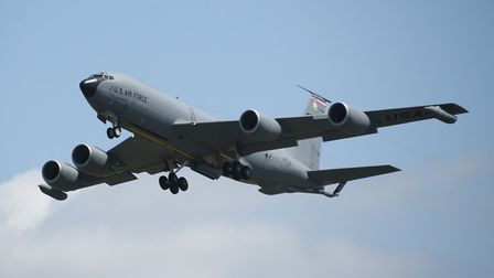 The USAF's refuelling tanker, the KC-135 Stratotanker takes off during the European Tanker Symposium