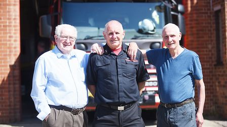 Alan Prior with former colleagues (L) Barry Watson and Brian Daniell, who he joined Norfolk Fire and