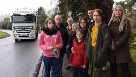 Samantha King, 2nd right, with parish councillors and residents who are appealing for a pedestrian c