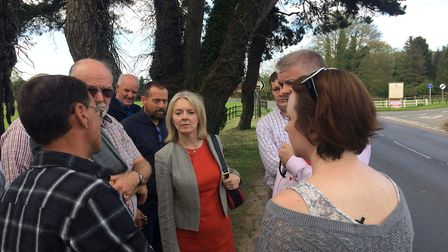 MP Elizabeth Truss visits Mundford residents to hear their concerns about pedestrian safety along th