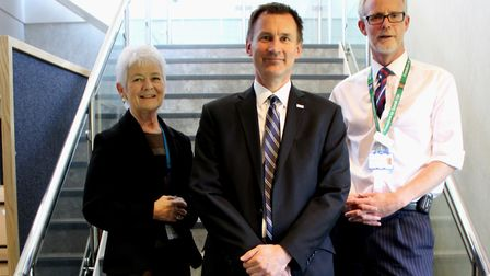 Chairman of the West Suffolk NHS Foundation Trust Shelia Childerhouse with the health secretary Jere