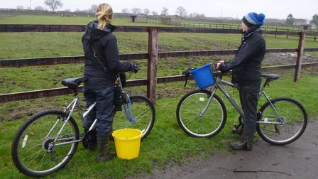World Horse Welfare's Hall Farm staff making use of existing bikes. The charity is looking for donat