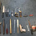 Suffolk police stopped a man who was found with a bag containing several knives and weapons. Photo: