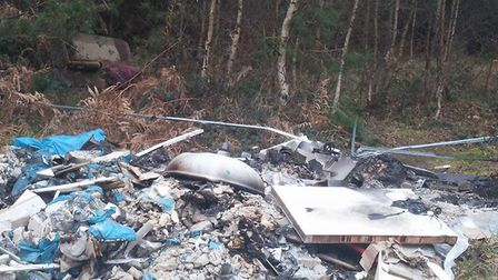 Household items which have been dumped close to Thetford Rugby Club which is in Thetford Forest., in