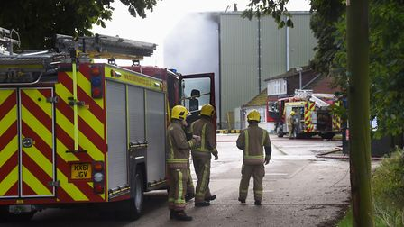 The fire service at the scene of the fire at the Viridor recycling centre at Wretham last year. Pict