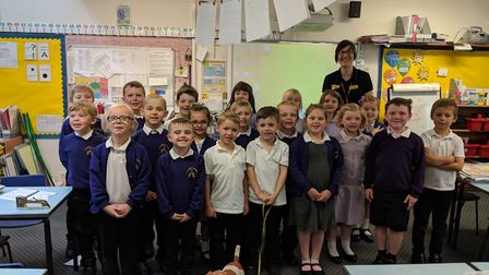 Dogs Trust visits schools to ensure pupils understand how to behave around dogs. Pictured are pupils