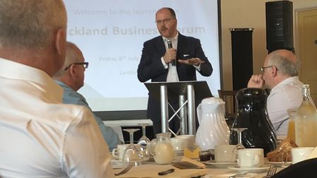 Mid Norfolk MP George Freeman at the launch of the Breckland Business Forum held at Lynford Hall. Pi