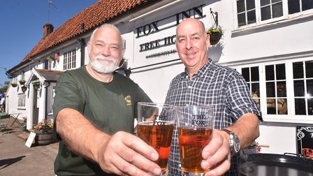 Beer Festival at The Fox Inn at Garboldisham. Directors Ian Skipper, left, and Eddie Theaker.Picture