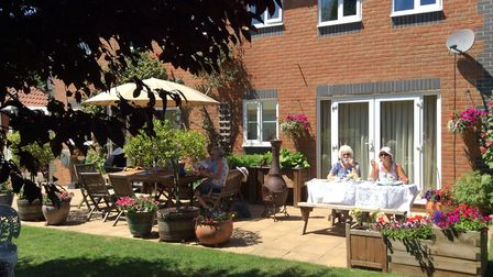 Thetford Open Gardens 2018. Visitors to some gardens were able to enjoy cakes and lunches. Picture: