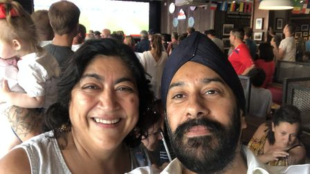 Bend it Like Beckham director Gurinder Chadha enjoying the England v Sweden match at Grand Central i