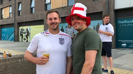 England fans Jamie Stone and Alex Rowe in Thetford. Picture: Rebecca Murphy