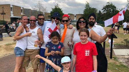 Bend it Like Beckham director Gurinder Chadha at On the Green Thetford watching the England Game. Sh