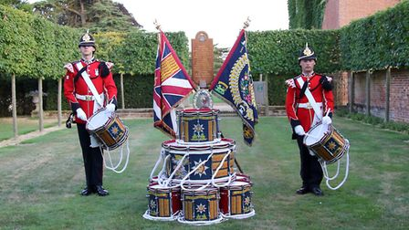 Members of the Royal Anglian Regiment Band at the regimental event held at Euston Hall. Picture: Gar