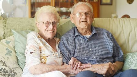 Alan (96) and Marnie (94) Hill are celebrating their 75th wedding anniversary. Picture: Ian Burt