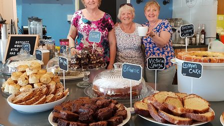 Lin Scott, Pat Parish and Val Stroud who are volunteers at The Drove Coffee House which has opened a