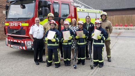 Mildenhall College Academy (MCA) students with their Firebreak certificates. From left, back row, K