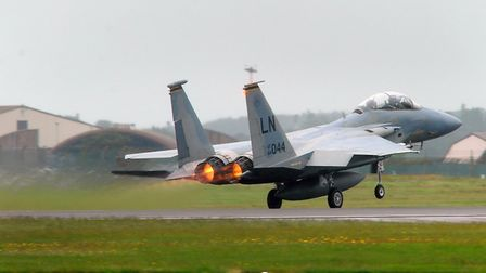 A F-15 takes off from RAF Lakenheath. Photograph Simon Parker