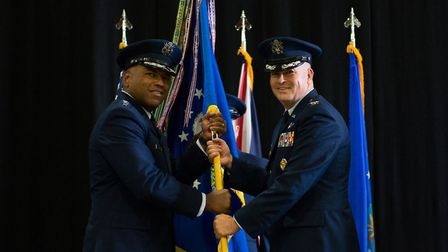 Col William Marshall assumes command of the 48th Fighter Wing from Lt Gen Richard Clark, 3rd Air For