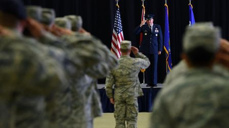Col William Marshall receives his first salute as the 48th Fighter Wing commander during a change of