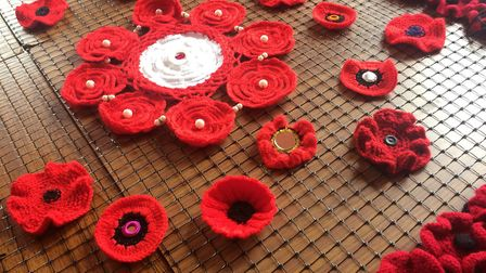 Some of the 100 poppies knitted by the women from the Guru Nanak Day Centre, Gravesend, and the Mila