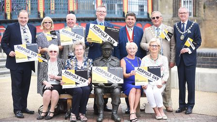 Norfolk's mayors and chairman visited the Captain Mainwaring bench in Thetford, as part of a special