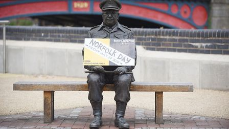 The Captain Mainwaring bench in Thetford, promoting Norfolk Day. Picture: Ian Burt