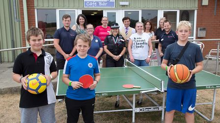 Youngsters and partners at the launch of the Brandon Chill Out Zone. Picture: Phil Morley