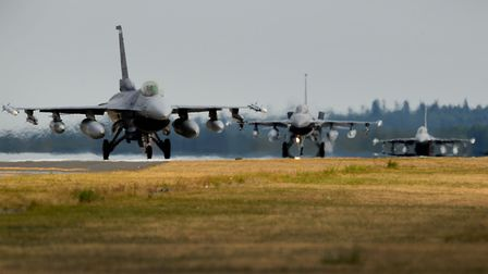 F-16 Fighting Falcons from the 31st Fighter Wing, 510th Fighter Squadron, Aviano Air Base, Italy lan