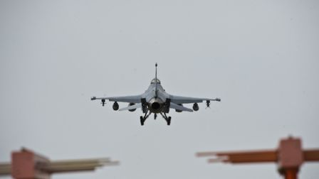 An F-16 Fighting Falcon from the 31st Fighter Wing prepares to land at RAF Lakenheath. Picture: US A