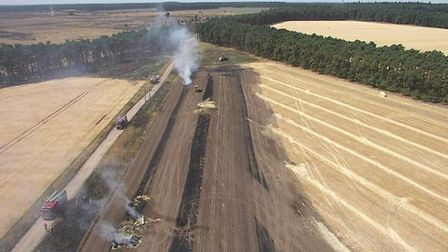 Drone footage of the filed fire at Elveden. Picture: Suffolk Fire and Rescue Service