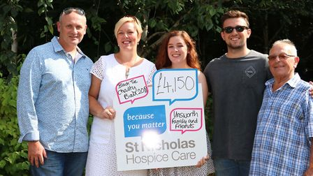 The Unsworth family, from Croxton, with their latest fundraising total for St Nicholas Hospice Care.