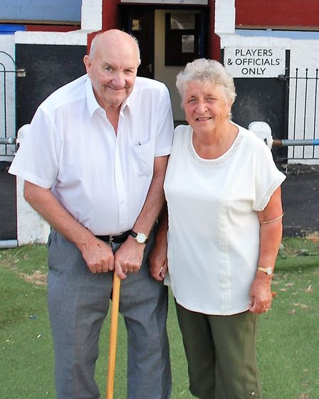 Mick Bailey with his wife Pauline. Thetford Town FC have named the stand in Mr Bailey's honour. Pict